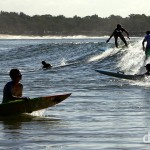 Surfing off Noosa Beach, Sunshine Coast, Queensland, Australia. April 5th 2012.