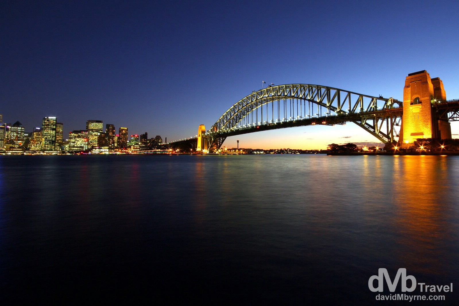The Sydney Harbour Bridge & CBD skyline at dusk as seen from the Kirribilli district of the city. June 7th 2012.