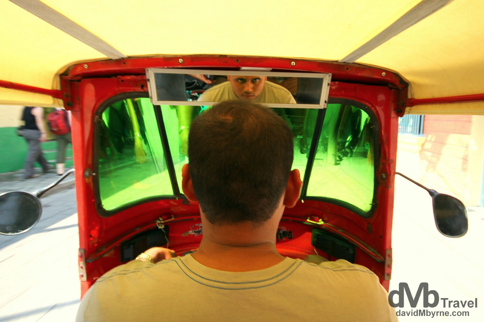 In a tuk-tuk en route to the bus station in Flores, northern Guatemala. May 18th 2013.
