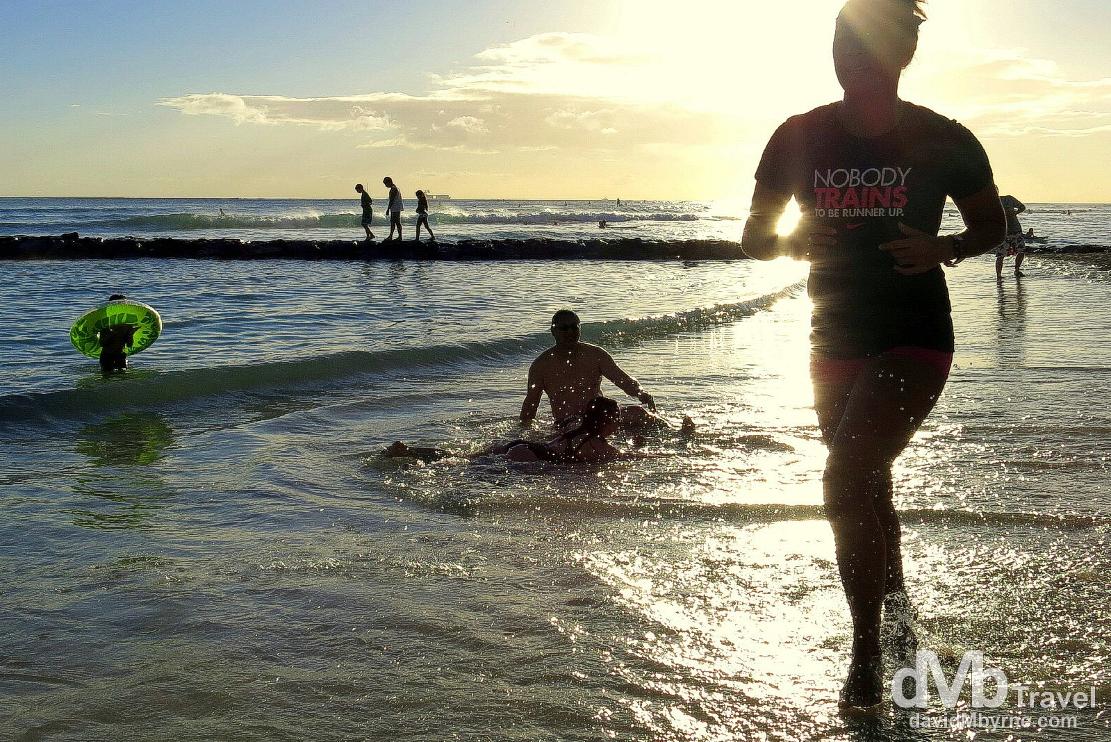 Nobody Trains To Be Runner Up. Late afternoon activity on Waikiki Beach, O'ahu, Hawaii. February 26th 2013.
