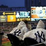 A wet & windswept Yankee Stadium, The Bronx, New York. July 12th 2013.