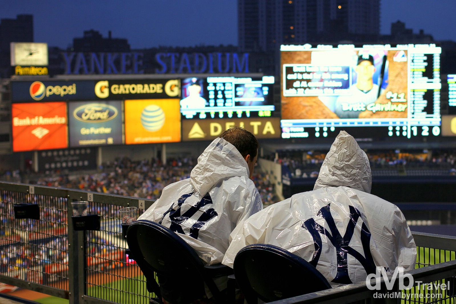 A wet & windswept Yankee Stadium, The Bronx, New York. July 12th 2013.