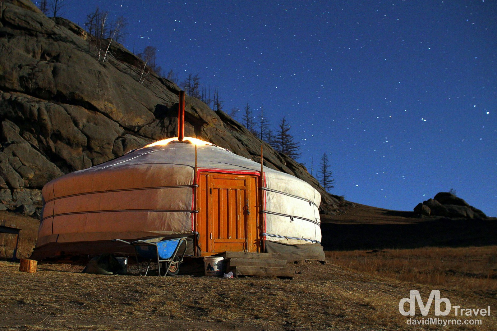 A 30-second exposure of a Ger in Guru Tourist Park, Terelj National Park, Mongolia. November 3rd 2012.