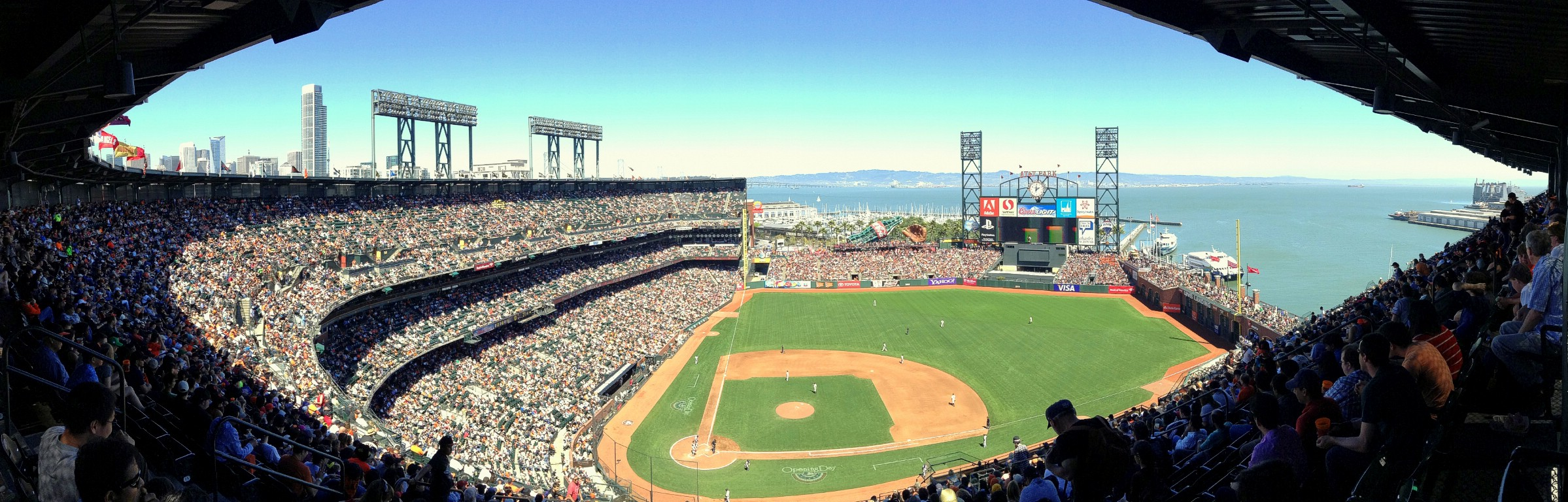 An iPod panorama from the inside of AT&T Park, home of the San Francisco Giants. San Francisco, California, USA. April 10th 2013.