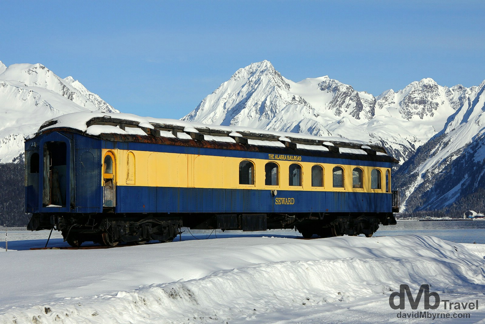 A disused Alaska Railroad carriage at Lowell Point on the shores of Resurrection Bay, Kenai Peninsula, Alaska, USA. March 15th 2013.