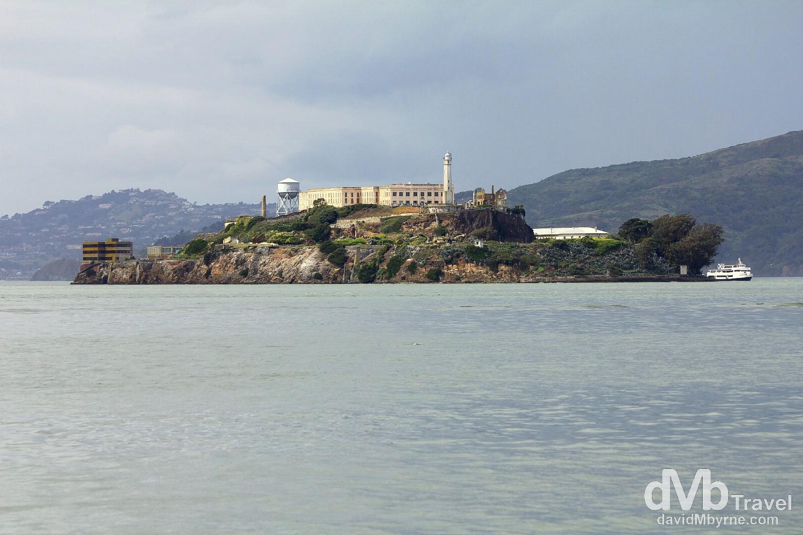 Alcatraz island as seen from the waterfront near Fisherman's Wharf, San Francisco, California, USA. March 31st 2013.