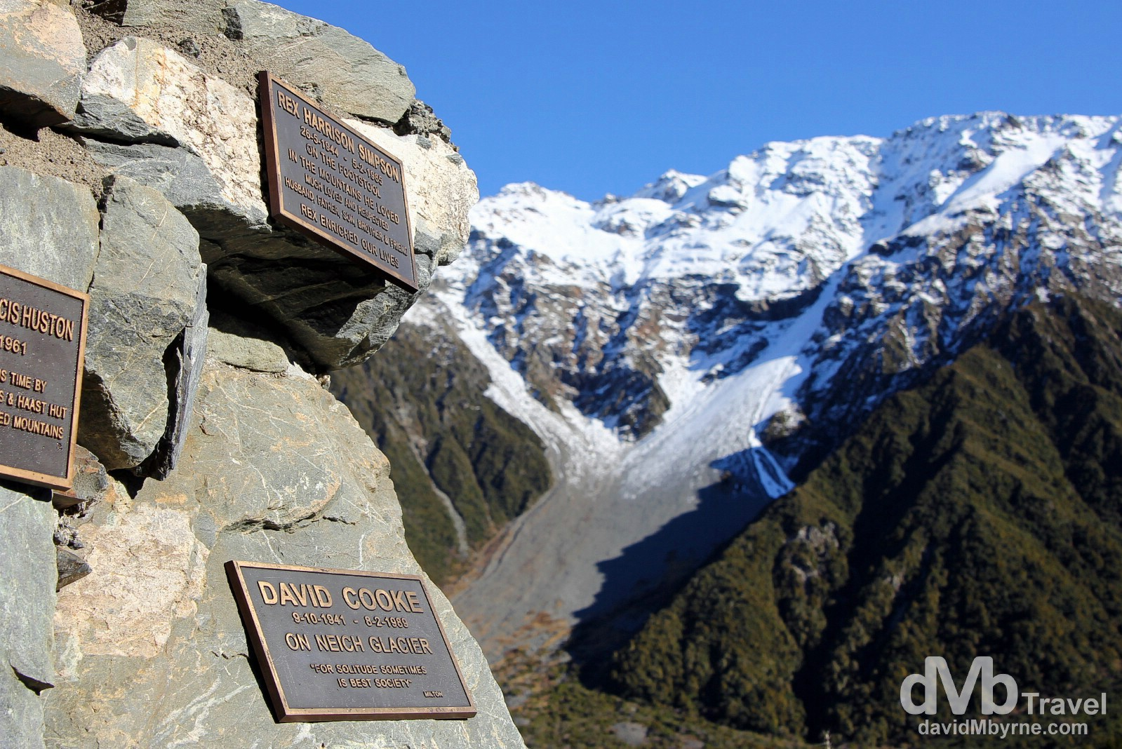 Plaques on the Alpine Monument at the entrance to the Hooker Valley, Mount Cook National Park, South Island, New Zealand. May 31st 2012.