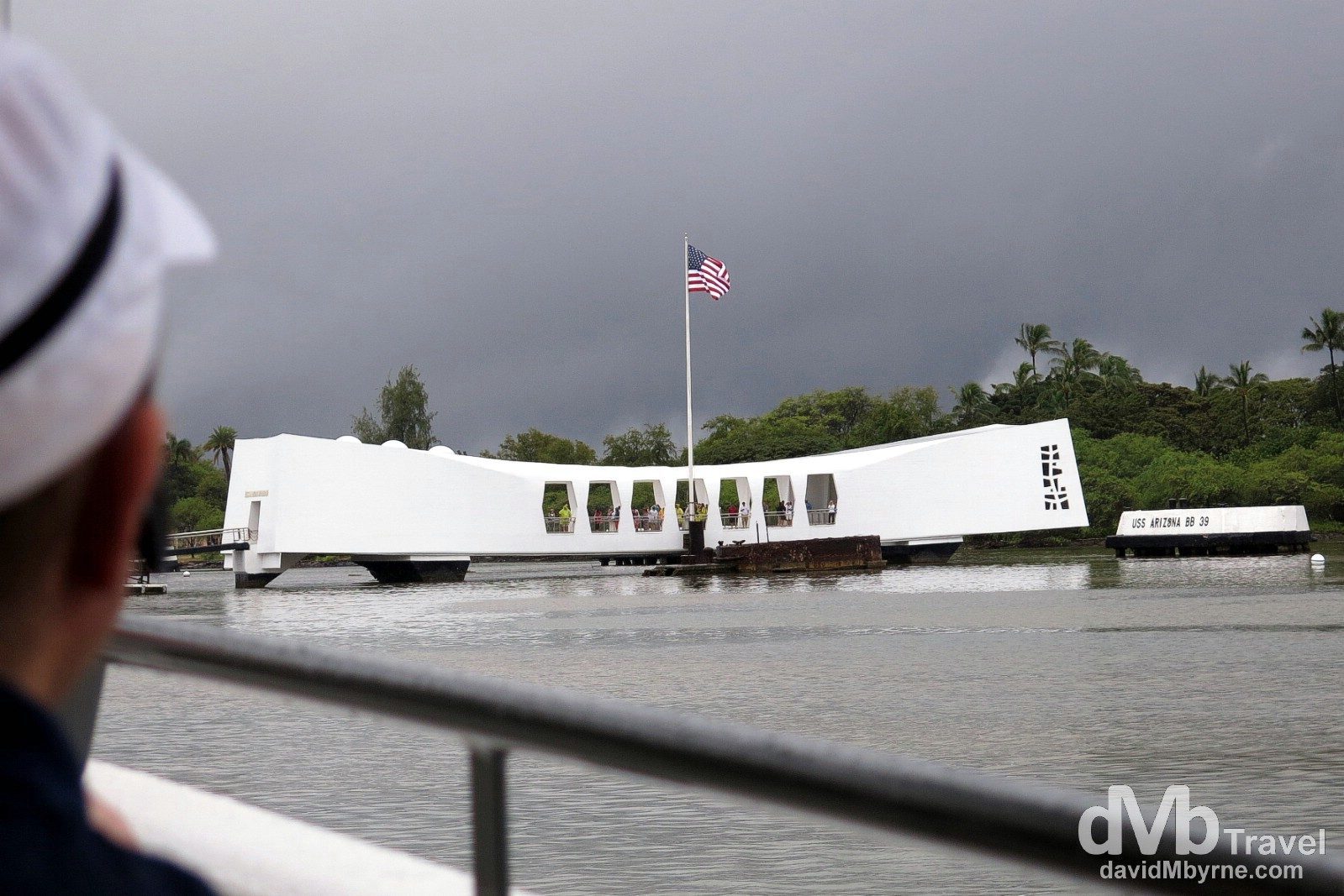 Approaching the USS Arizona Memorial in Pearl Harbour on an overcast Hawaiian day. Oahu, Hawaii, USA. March 10th 2013.