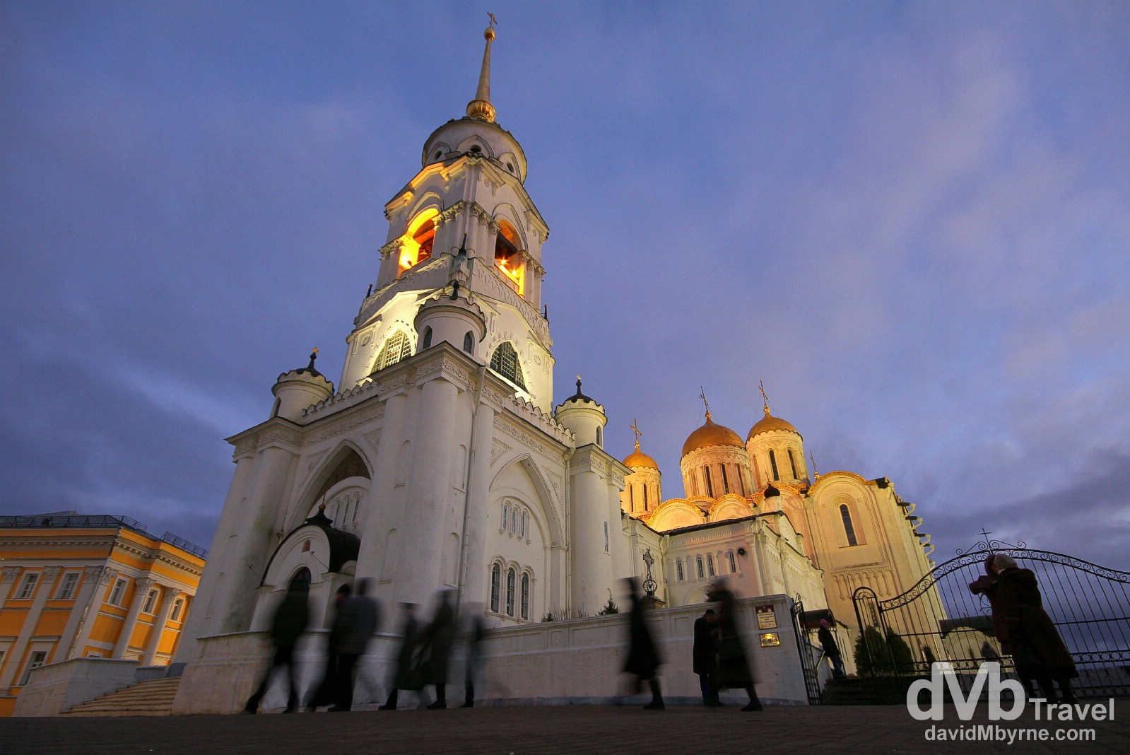 The gleaming white, golden-domed Assumption Cathedral in Vladimir, Russia. November 16th 2012.