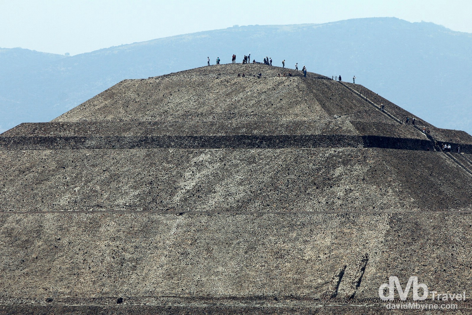 People atop the Piramide del Sol (Pyramid of the Sun) as seen from the slightly smaller Piramide de la Luna (Pyramid of the Moon), Teotihuacan, Mexico. April 29th 2013.