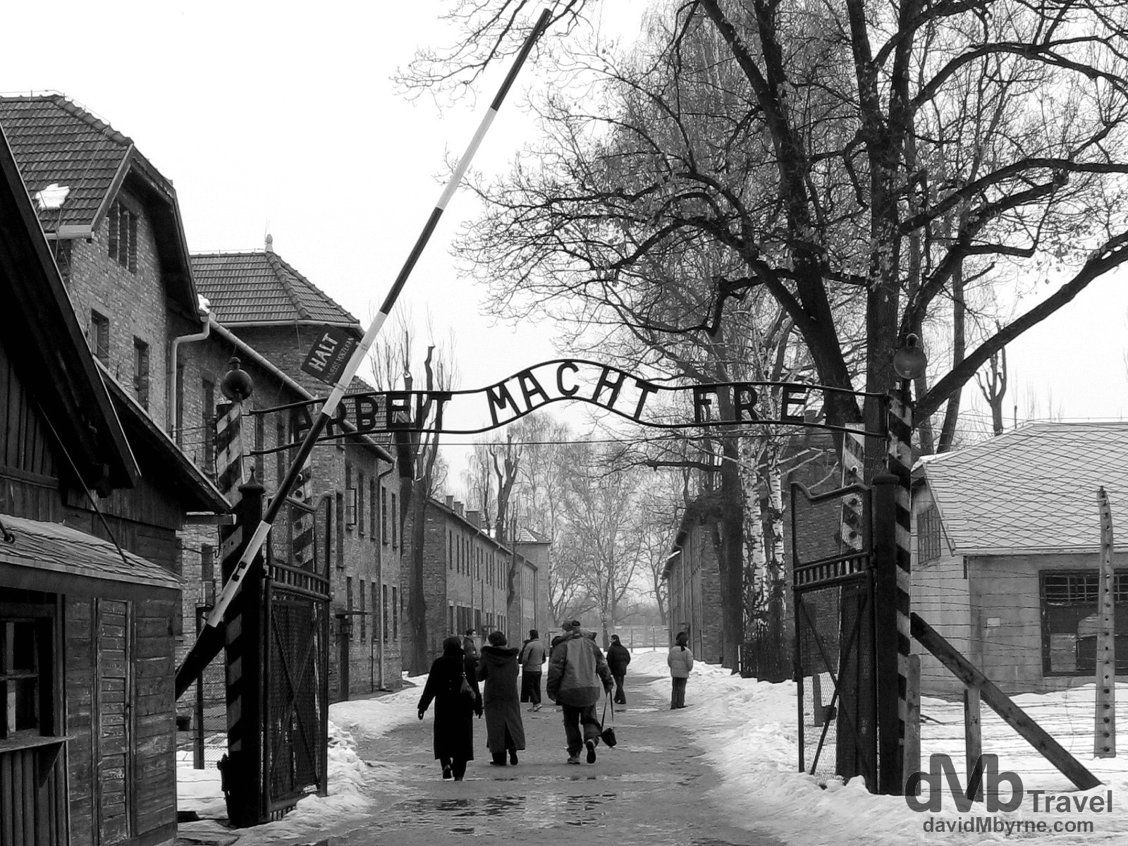 The main gate at Auschwitz I. It was through this gate that the working prisoners, the lucky ones, were marched each day on their way to and from work. The cynical German inscription reads 'Arbeit macht frei', which translates into 'work brings freedom'. The State Museum in Oswiecim (Auschwitz), Poland. March 7th 2006.