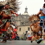 An Aztec War Dance in the Zocalo, the heart of Mexico City, Mexico. April 26th 2013.