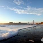 Nearing sunset on Baker Beach, San Francisco, California, USA. April 10th 2013.