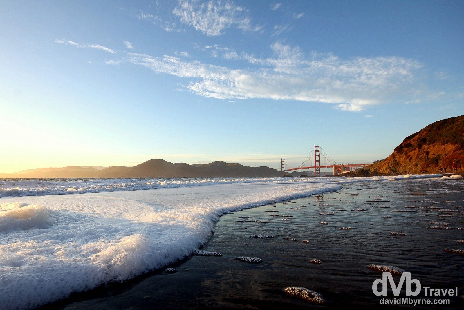 Nearing sunset on Baker Beach, San Francisco, California, USA. April 10th 2013.