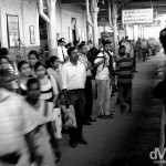 Waiting as the Colombo-bound train approaches. Bandarawela Train Station, central Sri Lanka. September 5th 2012.