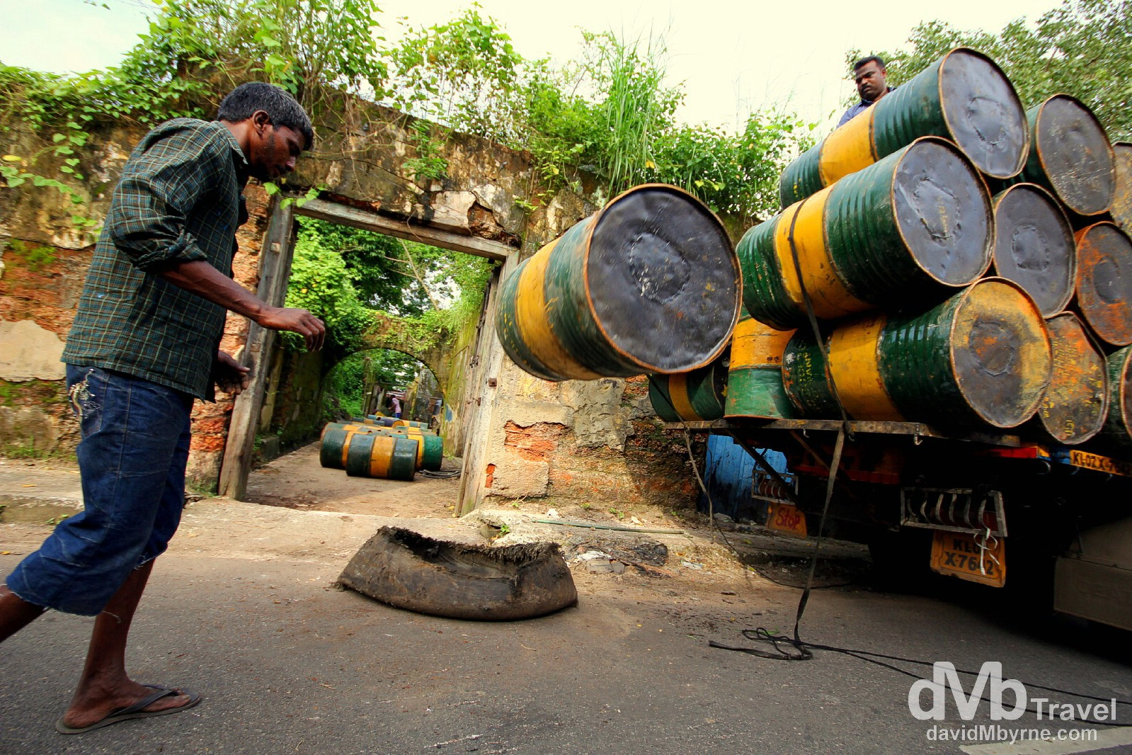 Unloading activities on Bazaar Road in Forth Cochin, Kerala, India. September 18th 2012.