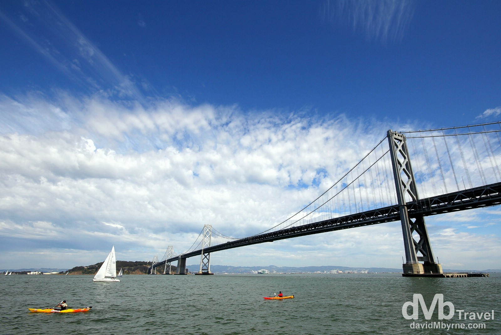 The Bay Bridge as seen from the waterfront Embarcadero, San Francisco, California, USA. March 30th 2013.