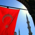 A Turkish flag flying in the grounds of the Blue Mosque, Istanbul, Turkey. September 19th, 2007.
