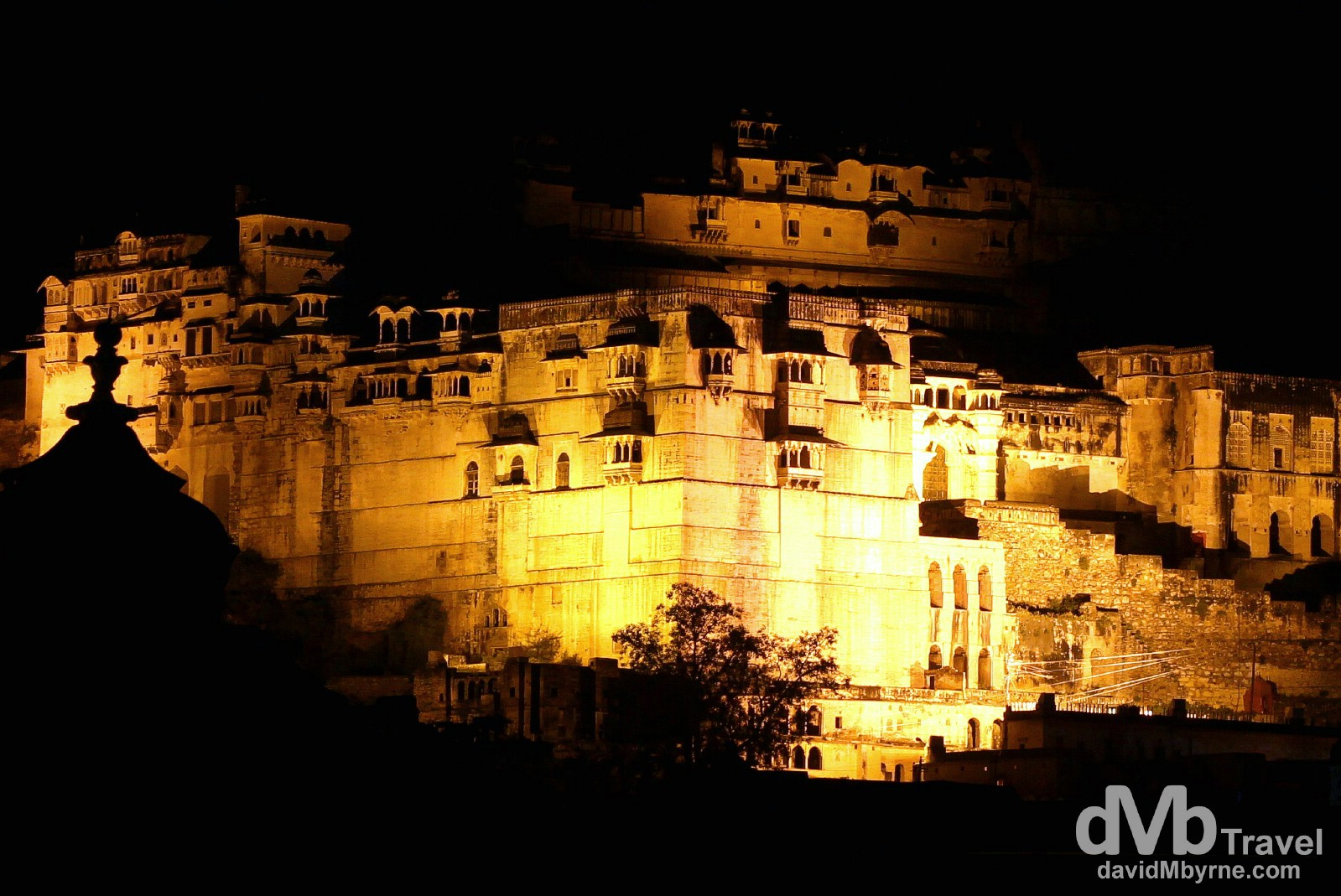 The imposing façade of Bundi Palace at night as seen from the rooftops of Old Town Bundi, Rajasthan, India. October 1st 2012.
