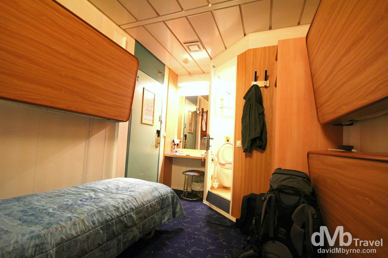 Male only cabin 2010 on deck 2 of the Silja Line Symphony. Room for 4 but made up only for 1 – me. On the ferry from Helsinki, Finland to Stockholm, Sweden. November 25th 2012.