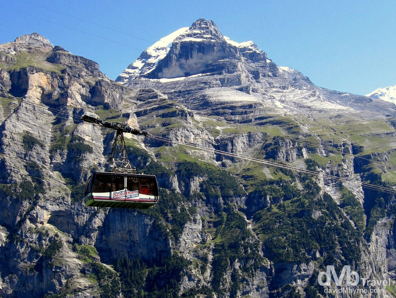 The Schilthorn Cable Car in the Jungfrau region of the Swiss Alps, Switzerland. August 25th, 2007.