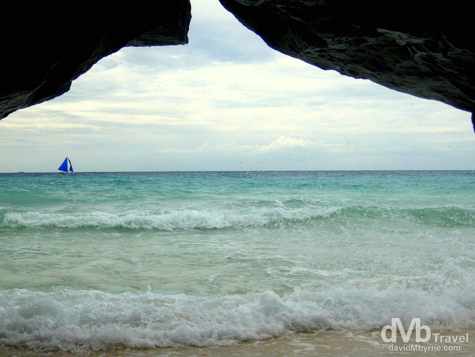 Taken from the inside for a small cave on Puka Beach, Boracay Island, Philippines. September 24th 2011.