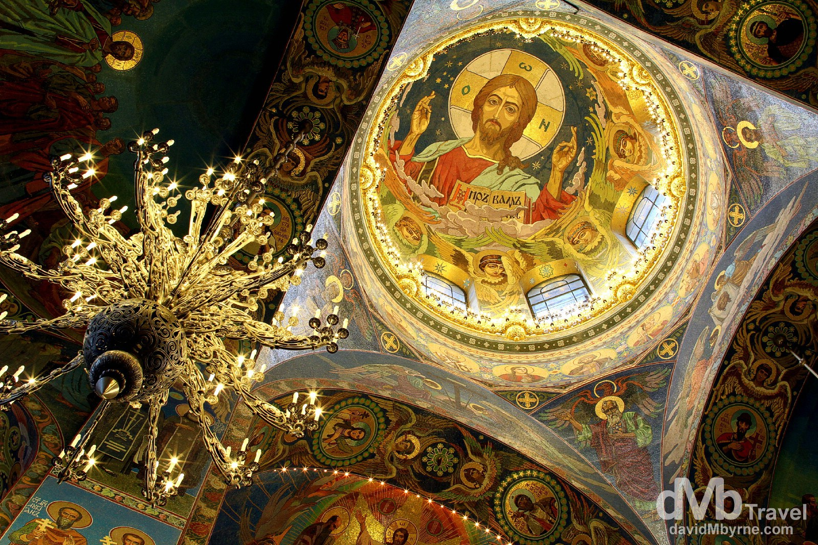 A section of the high ceiling of the Cathedral of the Resurrection of Christ, aka the Church on Spilled Blood, in St Petersburg, Russia. November 23rd 2012.