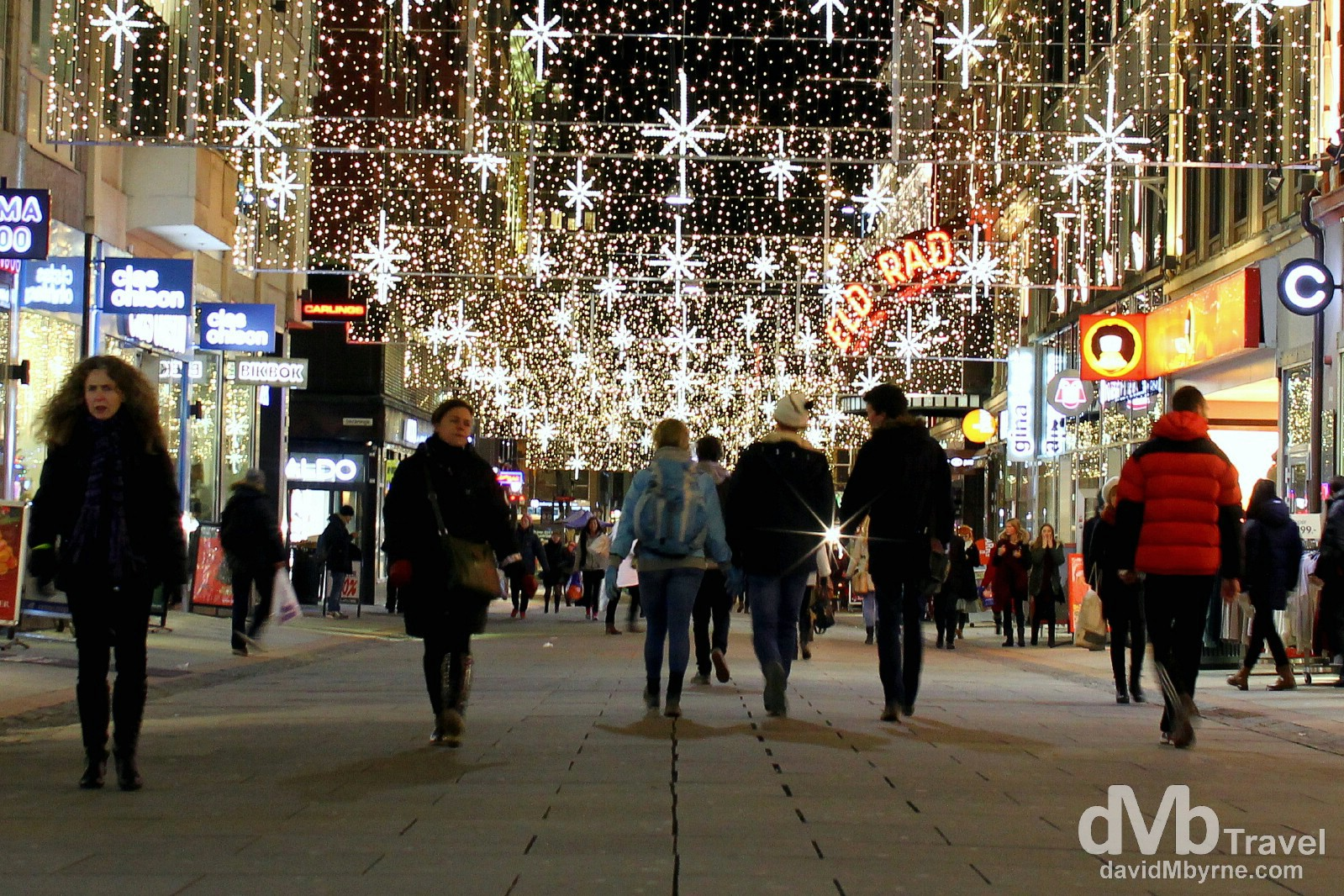 A festive look on Torggata, a pedestrianised street in central Oslo, Norway. November 29th 2012.