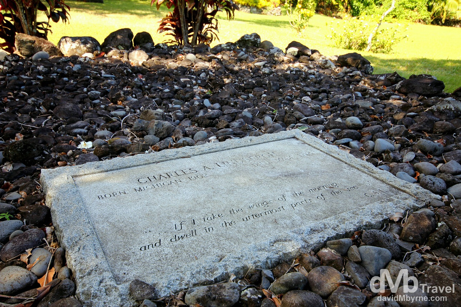 The grave of Charles Lindbergh in the grounds of Palapala Ho'Omau Church, Maui, a stop on Valley Isle Excursion's 'Road To Hana' tour. Maui, Hawaii, USA. March 7th 2103.