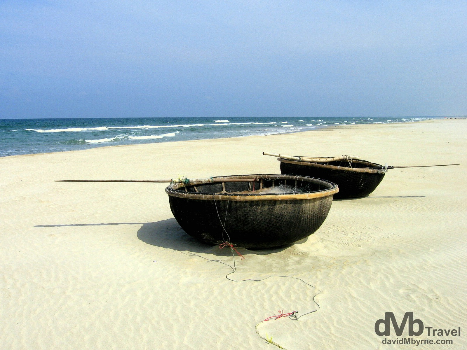 Traditional fishing boats on China Beach, outside Danang, Central Vietnam. September 10th 2005.