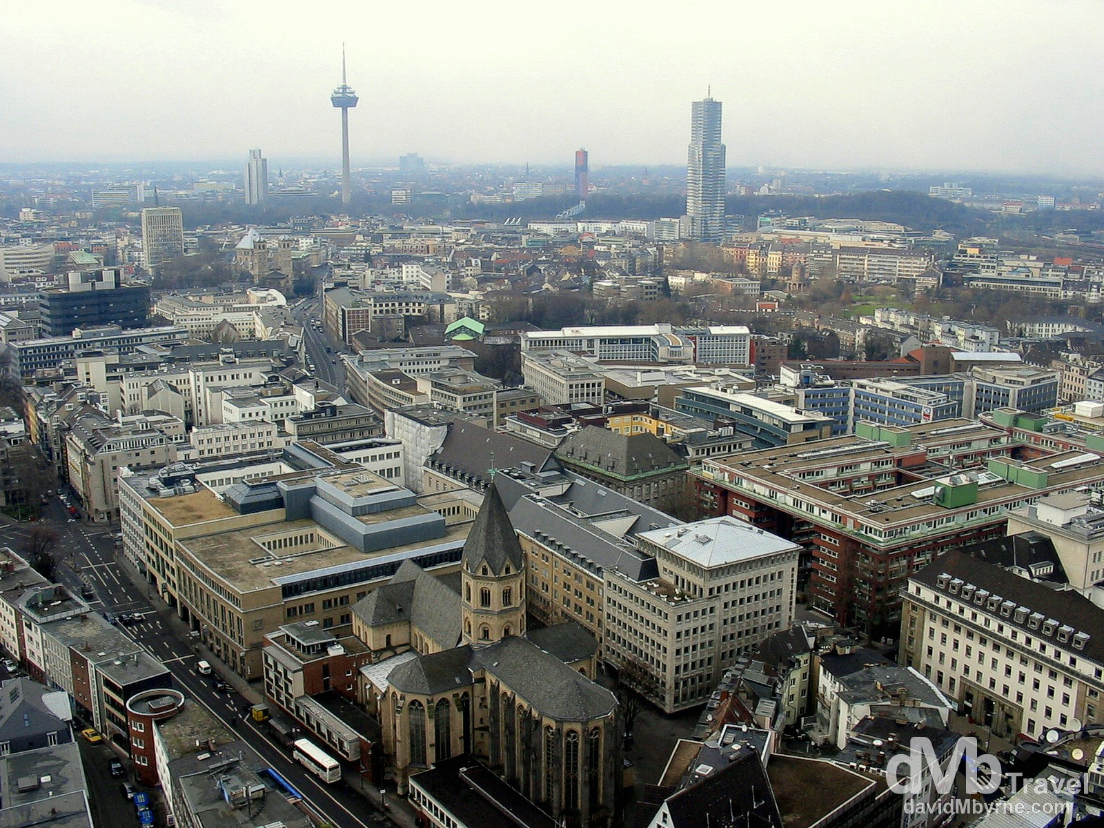 Cologne as seen from the south tower of Cologne Cathedral, Cologne, Germany. February 16th 2005.