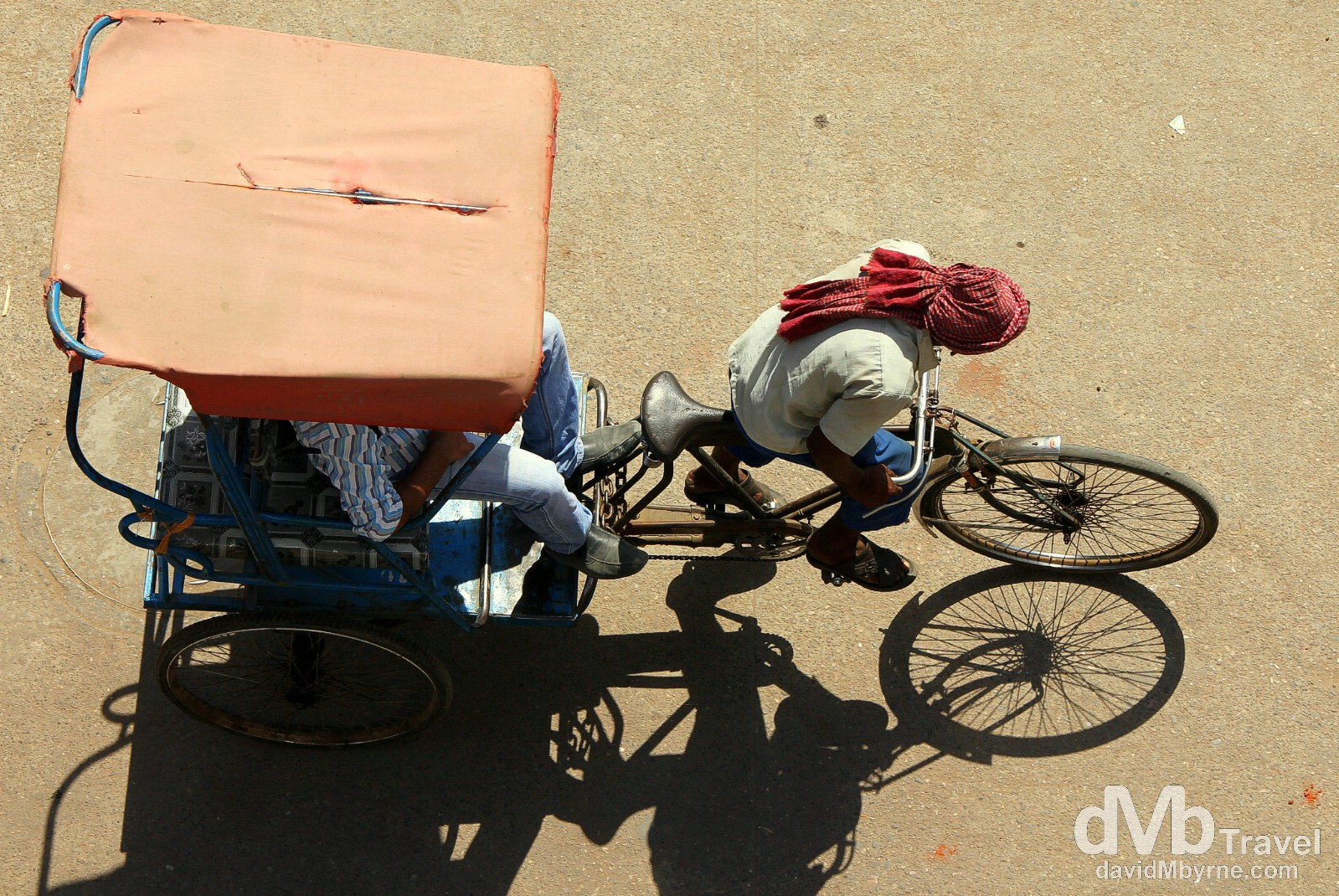 A cyclo (cycle rickshaw) on the Main Bazaar, Paharganj, Delhi, India. October 8th 2012.