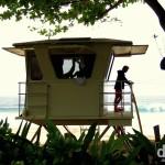 A lifeguard hut on the beach at Ehukai Beach Park, Pupukea, North Shore, O'ahu, Hawai'i. March 10th 2013.