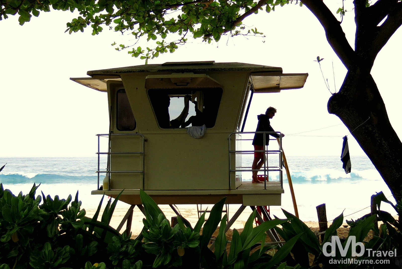 A lifeguard hut on the beach at Ehukai Beach Park, Pupukea, North Shore, O'ahu, Hawai'i. March 10th 2013.