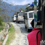 A bus convoy on the roads of western Nepal en route from Pokhara to Brethanti. March 10th, 2008.