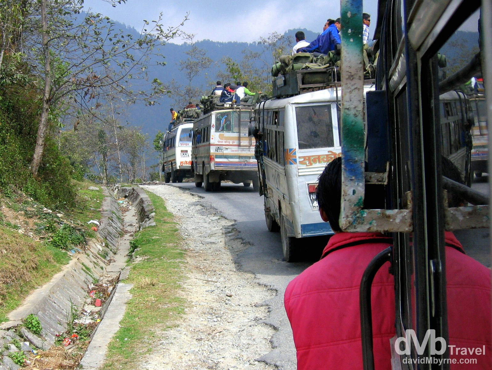 A bus convey in the Kathmandu Valley en route to Pokhara, Nepal. March 10th 2008.