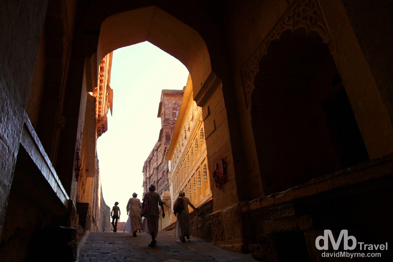 Walking up the rampart through the Lohapol (Iron) Gate of Meherangarh Fort, Rajasthan, India. October 5th 2012.
