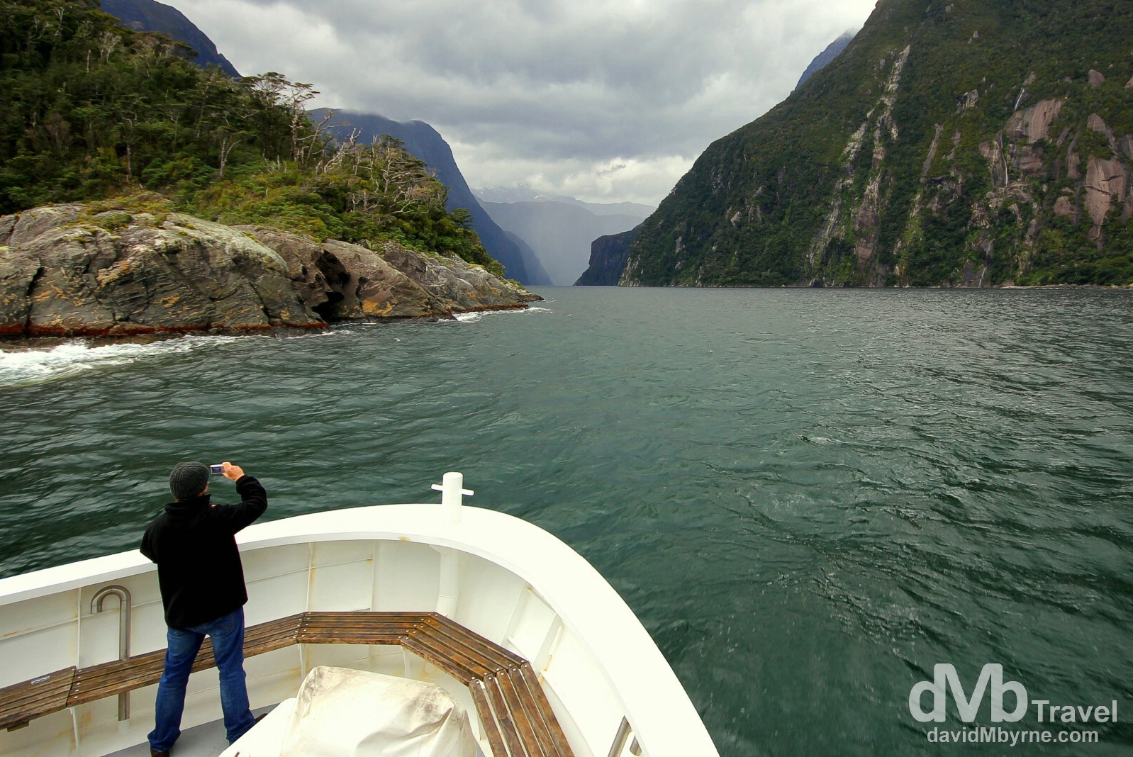 Entering Milford Sound, South Island, New Zealand. May 26th 2012.