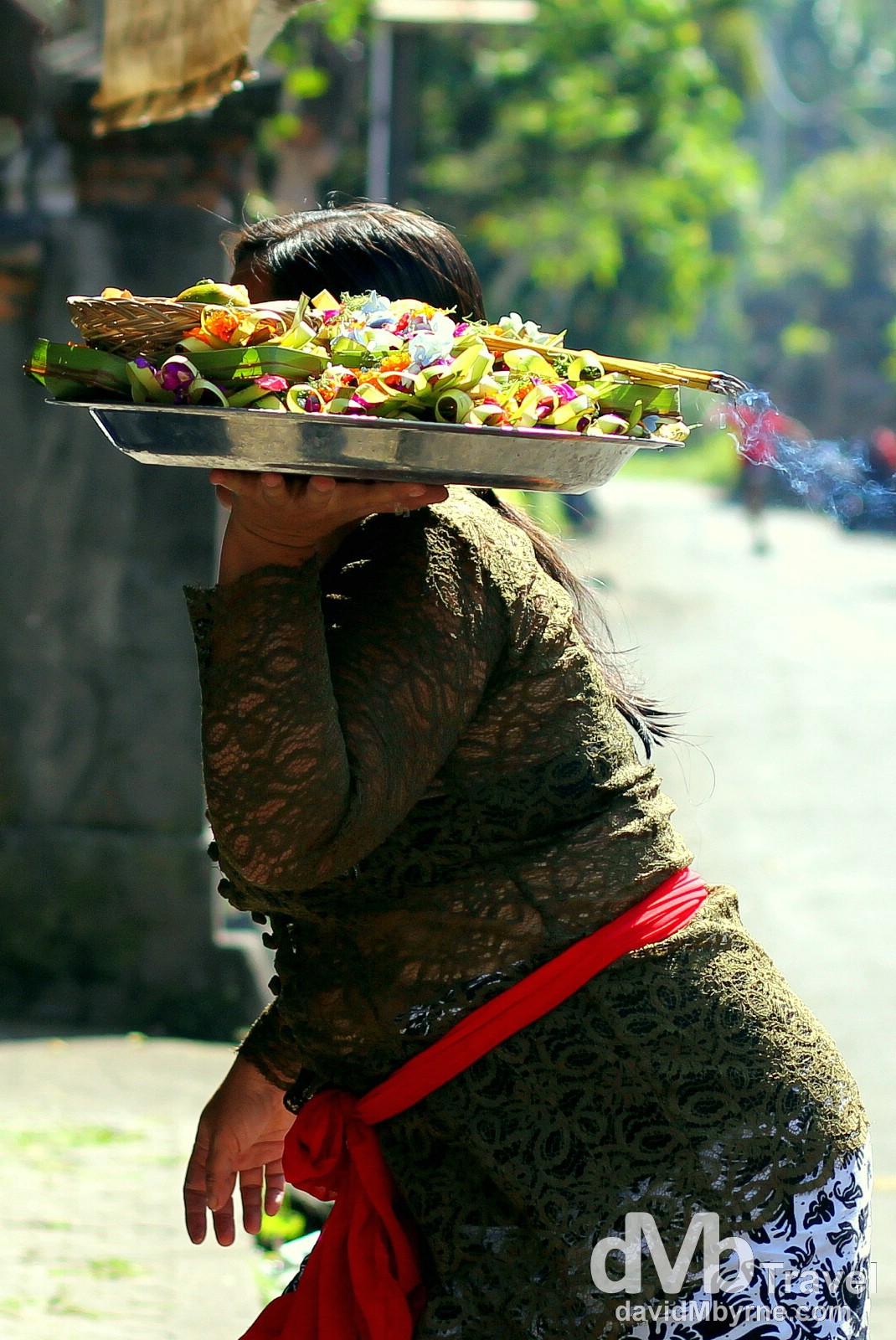 Entering a banjar (temple) with offerings in Singakerta, Ubud, Bali, Indonesia. June 16th 2012.