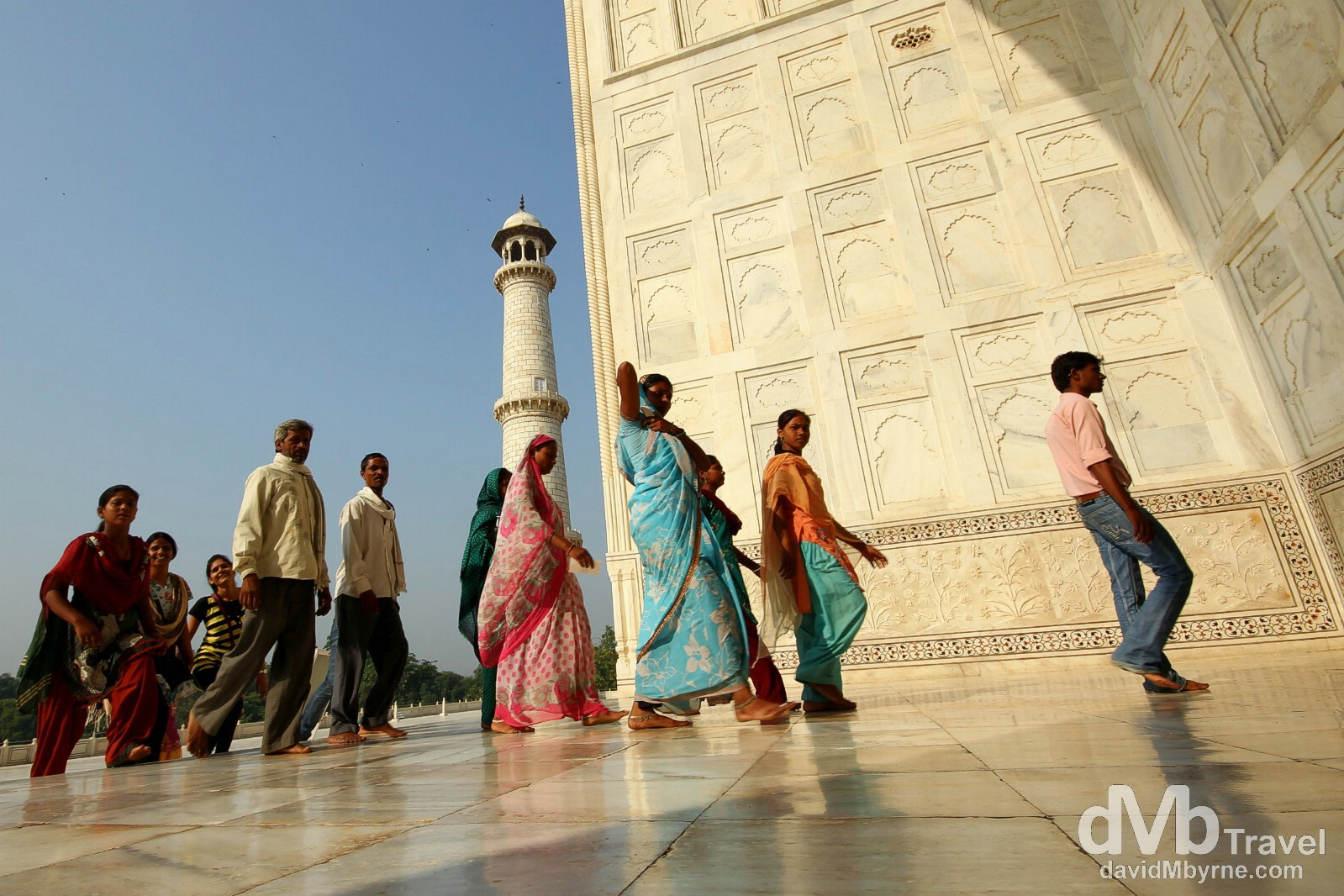 An Indian family entering the central burial chamber of the Taj Mahal in Agra, Uttar Pradesh, India. October 11th 2012.