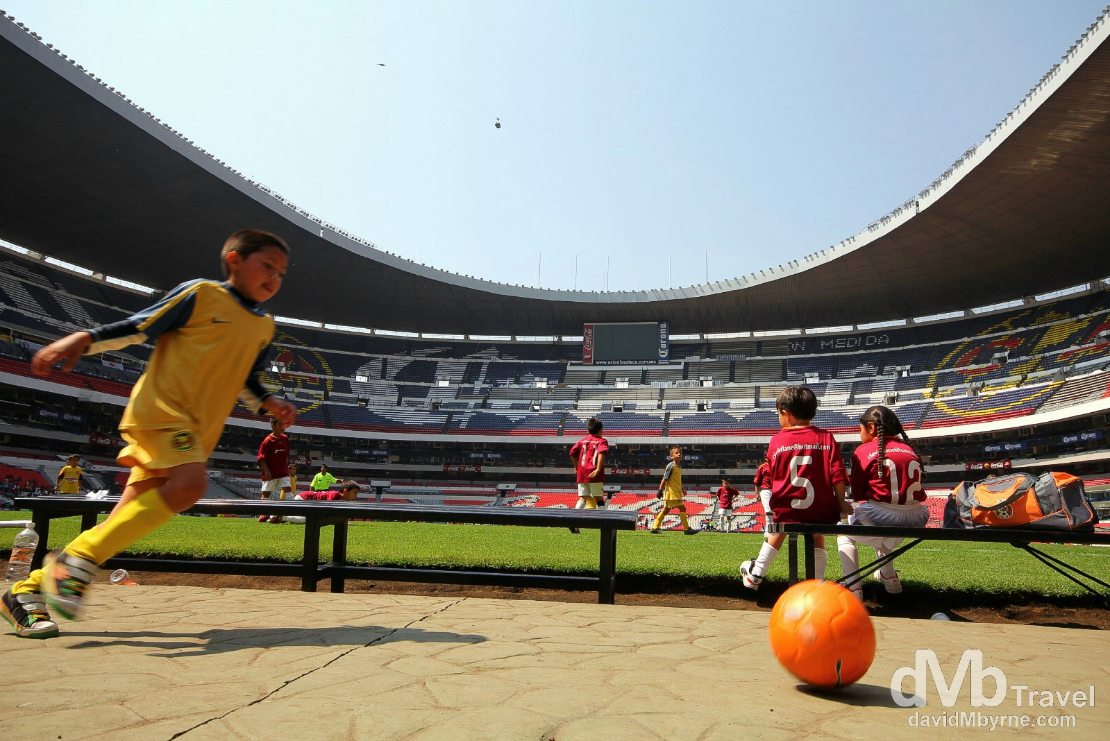 Kids playing soccer in the Estadio Azteca. I loved the tour I took of the Azteca Stadium but was amazed how small one of the biggest soccer stadiums in the world looked in person. TV really does make things look so much bigger. Estadio Azteca, Mexico City. April 28th 2013.