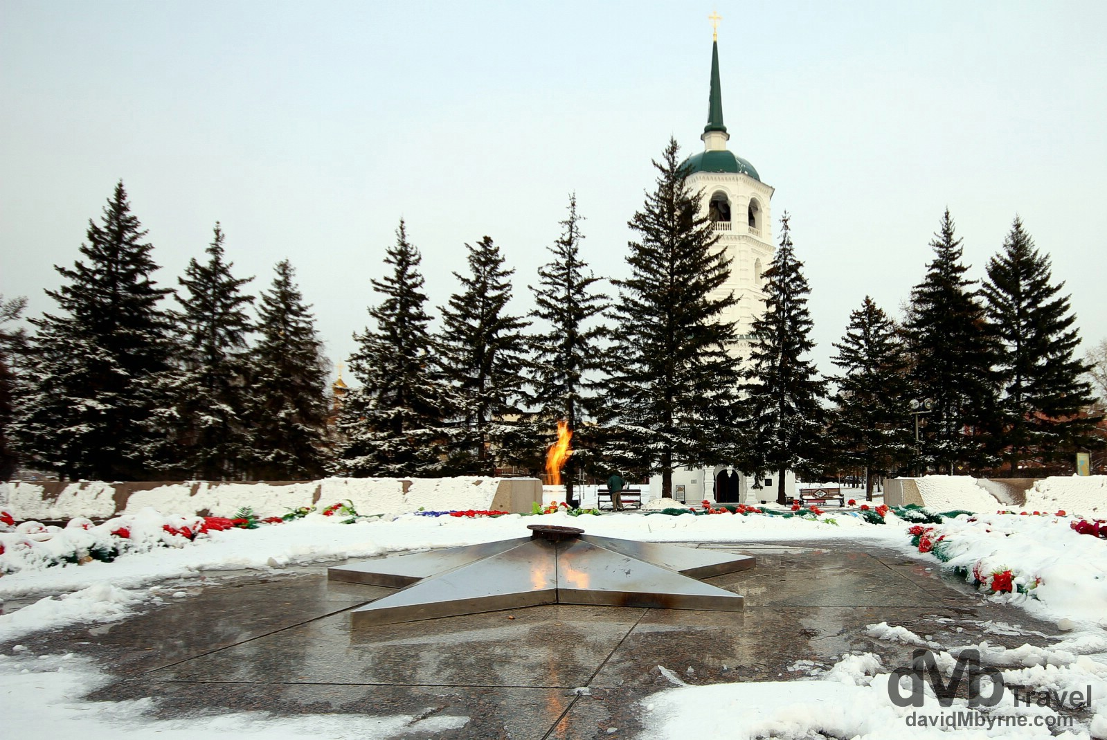 The eternal flame of the memorial complex dedicated to the memory of the Siberian soldiers who fell in battle against the Nazis in World War II. Irkutsk, Russia. November 6th 2012.