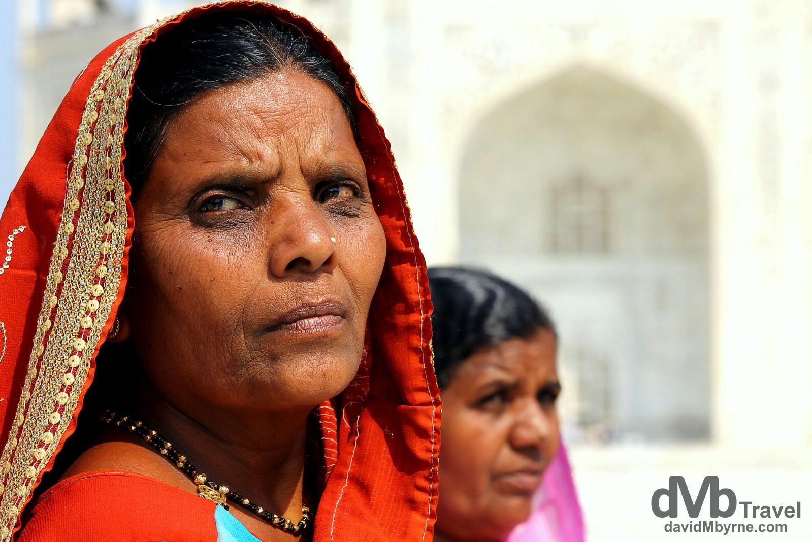 Faces fronting the Taj Mahal in Agra, Uttar Pradesh, India. October 11th 2012.