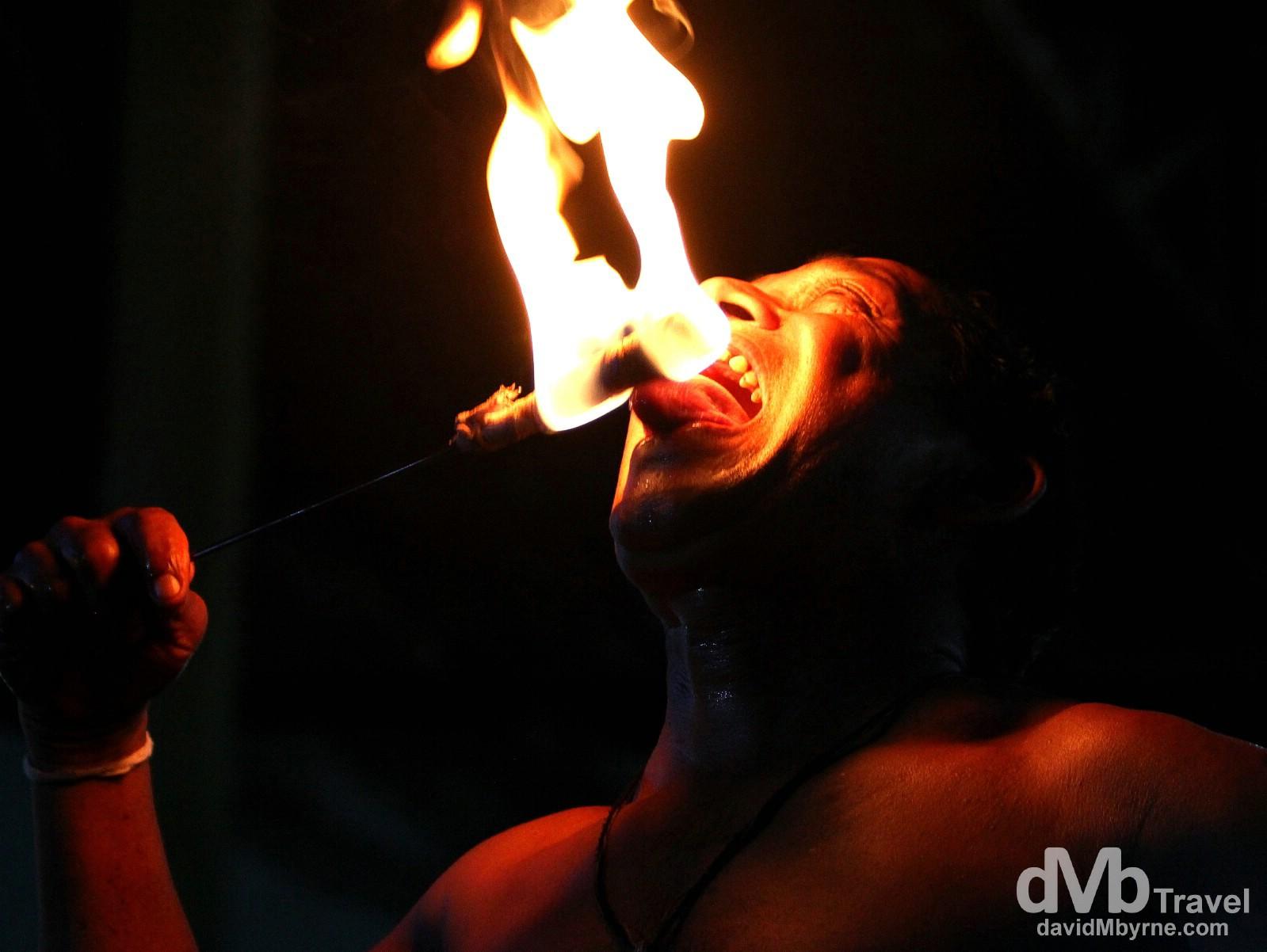 Eating fire as part of a Cultural Performance at the Kandyan Art Association & Cultural Centre, Kandy, Sri Lanka. September 9th 2012.