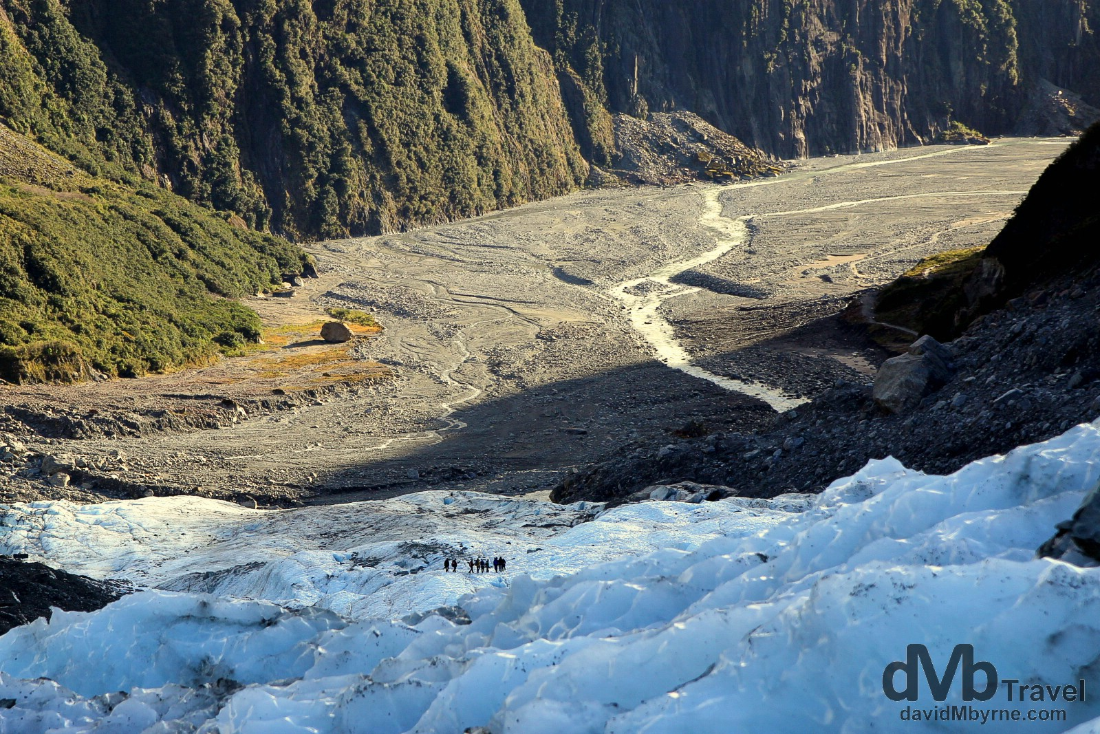 Distant figures descending the Fox Glacier, South Island, New Zealand. May 19th 2012.