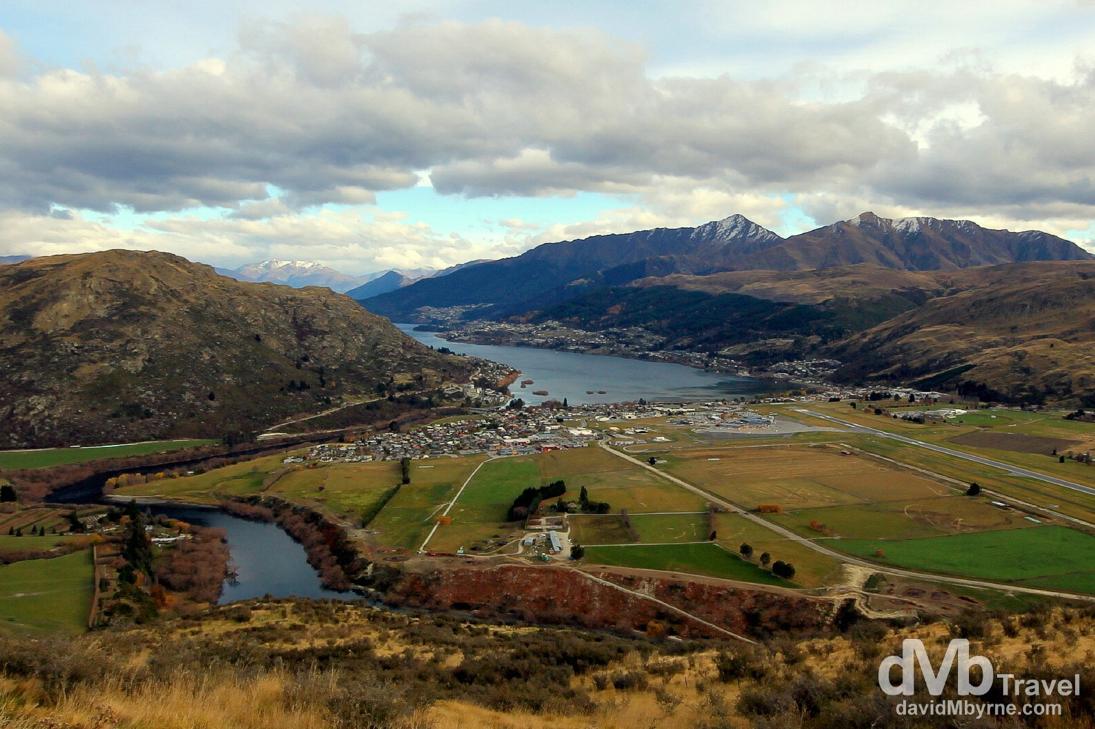 Frankton & Queenstown as seen from the road to The Remarkables ski field, South Island, New Zealand. May 24th 2012.