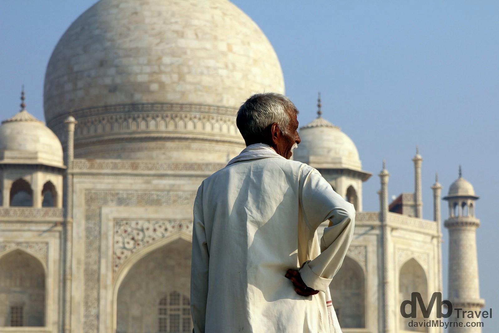 A man fronting the Taj Mahal, Agra, Uttar Pradesh, India. October 11th 2012.