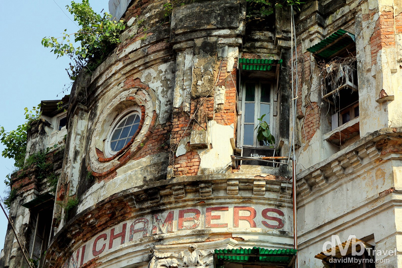 The crumbling façade of the Futani Chambers building in the BBD Bagh area of Calcutta, West Bengal, India. October 15th 2012.