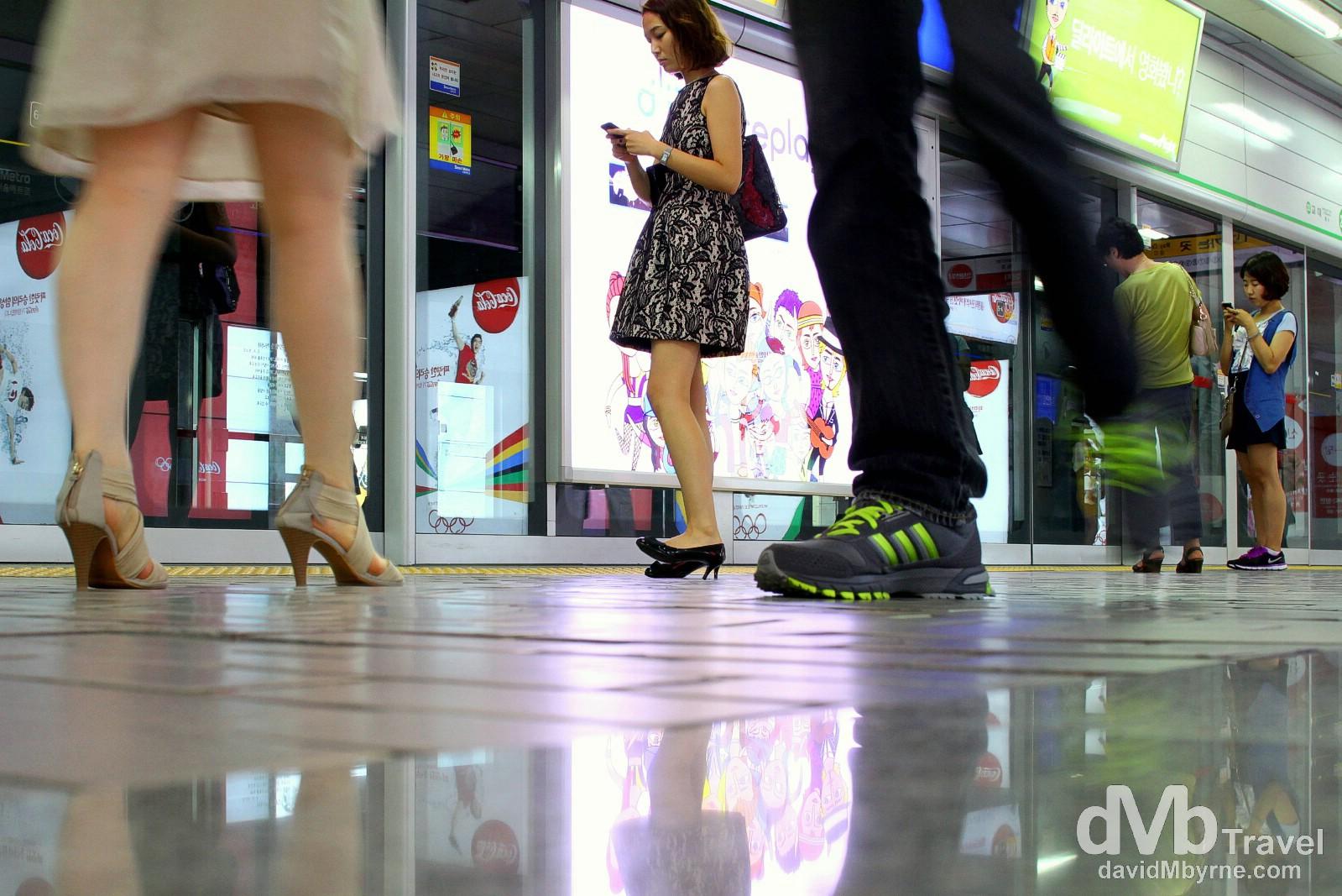 Gangnam Metro Station, Seoul, South Korea. July 8th 2012.
