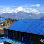 The distinctive blue galvanised roofs of the buildings of Ghorepani village in the Annapurna Conservation Area, western Nepal. March 12th, 2008.